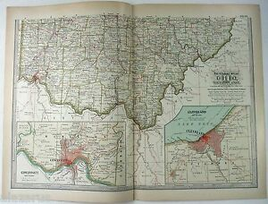 Details about Original 1897 Map of Southern Ohio by The Century Company.  Antique