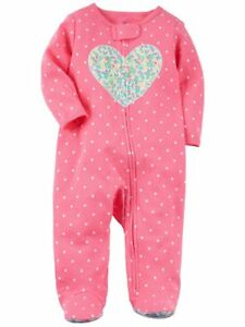 5d681c6b44 Carters Infant Girls Pink Heart Cotton Sleeper Footie Pajamas Sleep ...