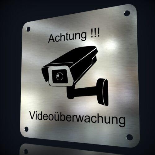 """EDELSTAHL HINWEISSCHILD /""""ACHTUNG VIDEOÜBERWACHUNG/"""" MIT LASERGRAVUR NACH WUNSCH"""
