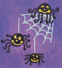 6x Die Cut Sizzix Halloween shapes HANGING SPIDERS AND WEB - Cardmaking Crafting