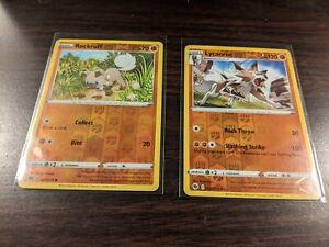 Pokemon ROCKRUFF & LYCANROC 029/073 030/073- Champion's Path - Rev Holo NM