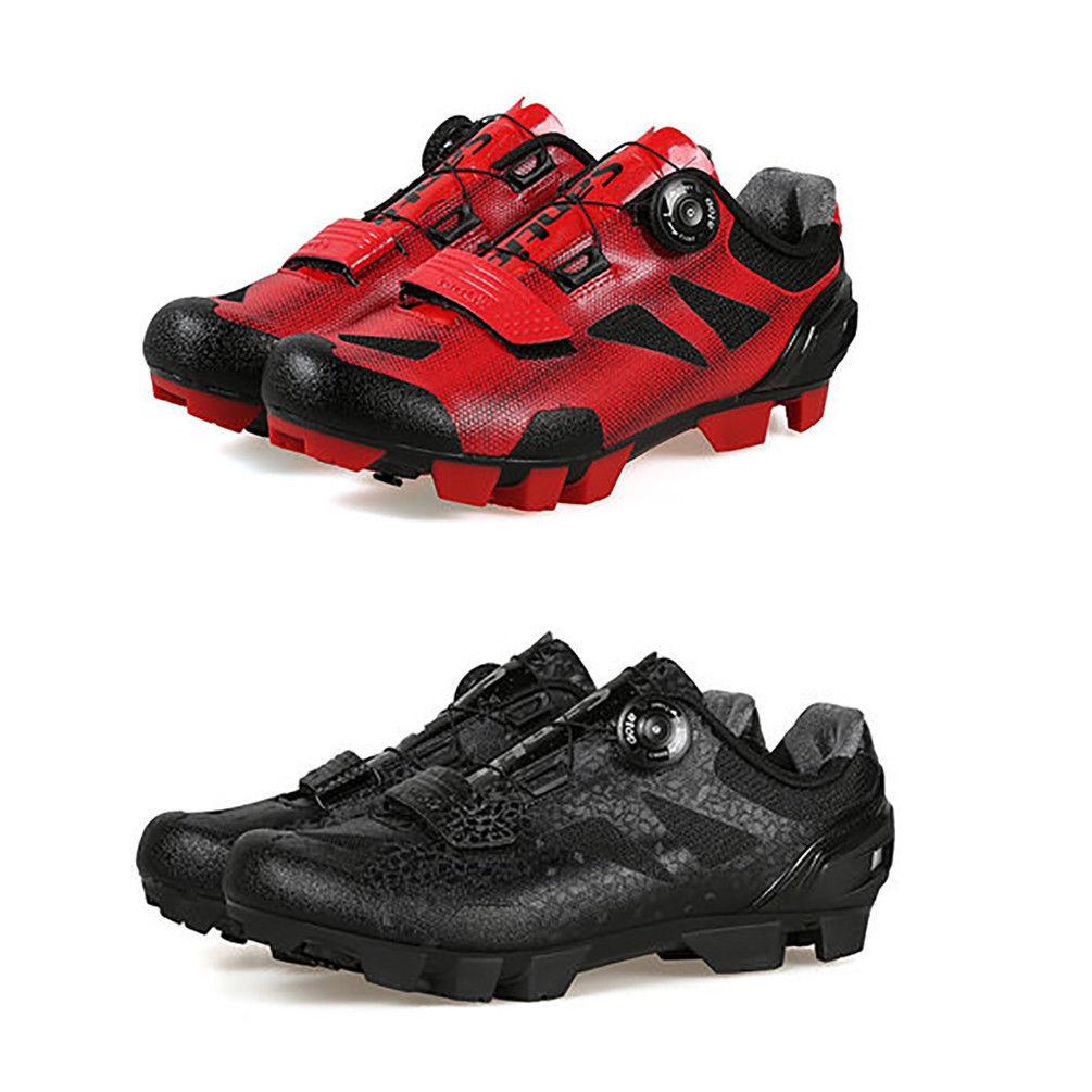 Santic Hombres Zapatos de Bicicleta de montaña con hebilla de rojoación importados en la cima de Zapatos de TPU de bloqueo