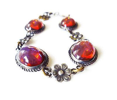 Art Deco Sterling Silver Dragons Breath Glass Cabochon Floral Design Bracelet