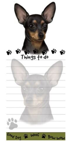 CHIHUAHUA BLACK DOG DIECUT LIST PAD NOTES NOTEPAD Magnetic Magnet Refrigerator