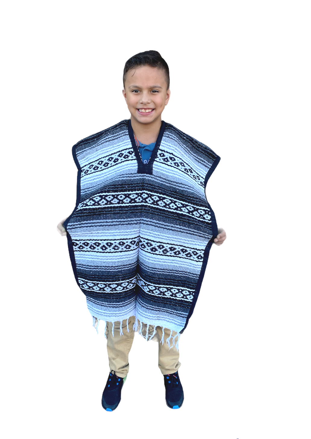 MEXICAN KIDS PONCHO , FALSA , COSTUME ,BLANKET SERAPE GABAN ,KIDS 8 - 12 ,GRAY