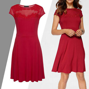 ELEGANT-KLEID-Jersey-ROT-Gr-44-XXL-SHIRTKLEID-transparente-Meshpartie-Stretch