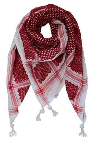 Jordanian Red white Keffitey Shemagh Arab Scarf Cotton Unisex Hatta Brand New
