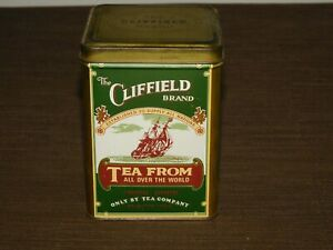 "VINTAGE KITCHEN 4 3/4"" HIGH CLIFFIELD BRAND TEA ALL OVER WORLD TIN CAN  *EMPTY*"