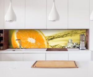 Aufkleber Küchenrückwand Orange Wasser Obst Küche Folie Spritzschutz ...