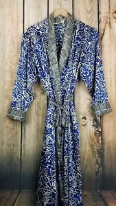 Victoria-Secret-Gold-Label-Vintage-Full-Length-Blue-Floral-Robe-Size-M-L