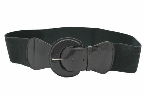 Women Fashion Wide Band Dark Grey Charcoal Belt Big Buckle Hip High Waist M L