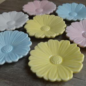 Romantic-Daisy-Floral-Flower-Ceramic-Round-Jam-Salad-Plate-Sauce-Dish-Holder-New