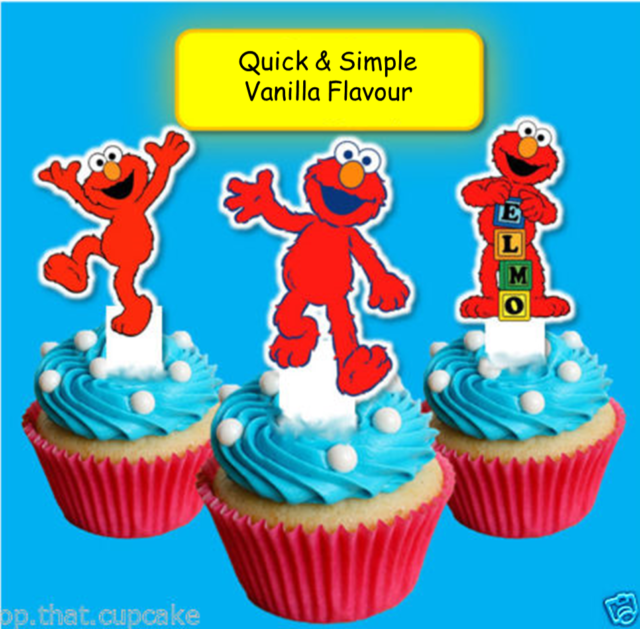 Elmo Edible Wafer Cupcake Cake Toppers Birthday Boy Girl Sesame Street
