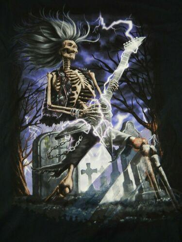 Men/'s T-shirt Skull Guitar Playing Black Sz 2XL