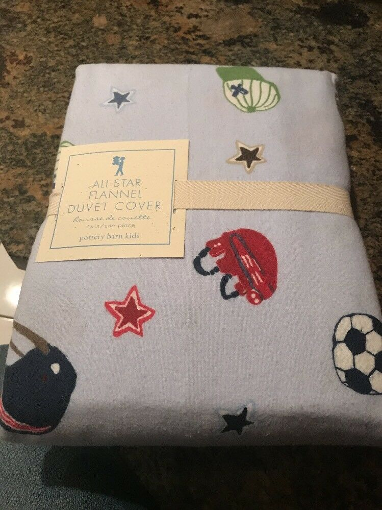 Pottery Barn Kids Sports All Star Flannel Duvet Cover Twin New