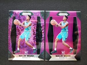 MALIK-MONK-2017-18-PANINI-PRIZM-PINK-FAST-BREAK-DISCO-ROOKIE-RC-SP-LOT-2-75