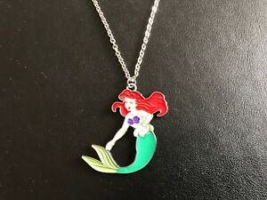 CUTE-ARIEL-MERMAID-DISNEY-INSPIRED-ENAMEL-Necklace-Silver-Plated-chain-Gift-Bag