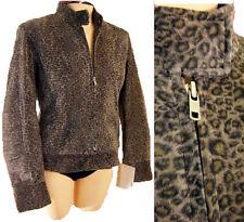 Leopard suede LEATHER biker cafe racing jacket riding M vespa faux fur fitted