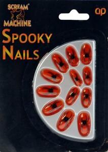 Halloween Spider False Nails Fancy Dress / Dressing Up Party - Neon Orange