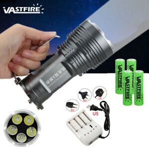 35W-10000Lm-5x-T6-LED-Flashlight-Torch-Searchlight-5-Mode-Camping-Lamp-4x18650