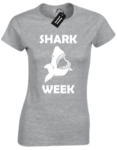 SHARK WEEK LADIES T SHIRT FISH MARINE DISCOVERY CHANNEL TV GREAT WHITE GIFT