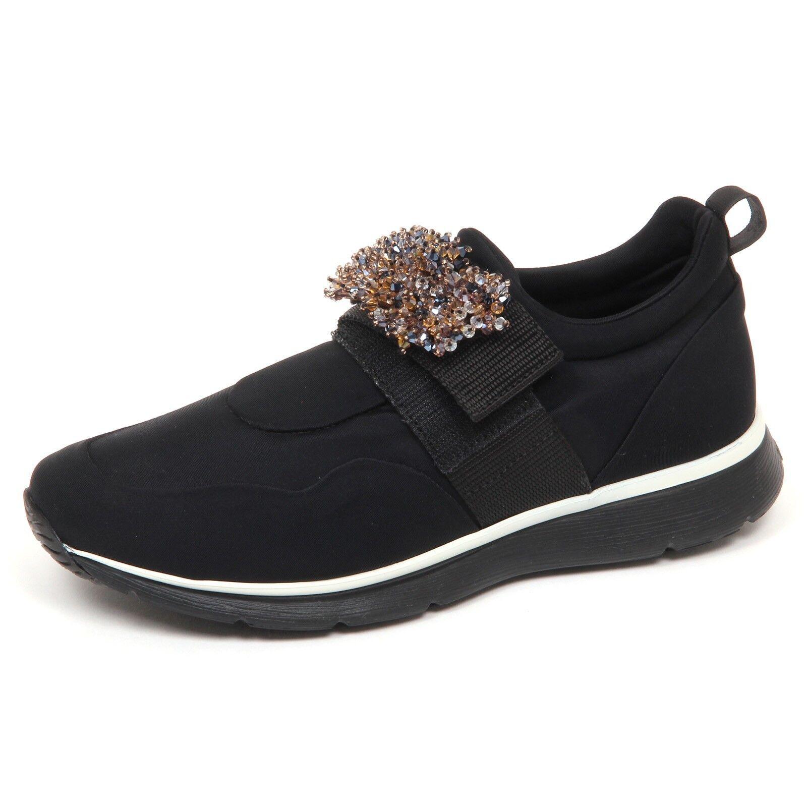 E4802 sneaker donna tissue HOGAN H254 nero scarpe con pietre slip on shoe woman