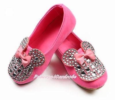 Rhinestone Sparkle Bow Minnie Neon Pink Kids Girl Slip On Deck Boat Shoes 867