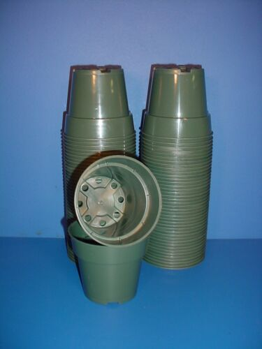 "10 New Round Green 4/""inch Standard Plastic Flower Nursery Pots 4/""x3.5/"""