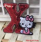ÉCUSSON PATCH thermocollant - LETTRE ALPHABET SEQUIN CHAT KITTY ROUGE