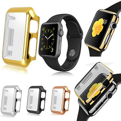 For Apple Watch iWatch 38 42mm Thin Metal Plated PC Hard Protective Case Cover