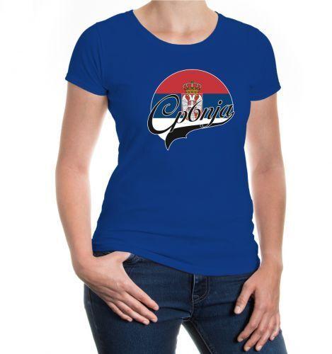 Damen Kurzarm Girlie T-Shirt Serbien-Logo Serbia Serbie Flagge flag Fanshirt