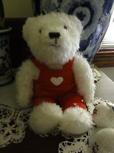 1383-Hallmark-32231-White-Shaggy-Teddy-Red-Coveralls-White-Hearts-9-T-3-5-W
