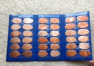 36-Ct-ALL-Copper-Elongated-Penny-Collection-Complete-w-Blue-Display-Book