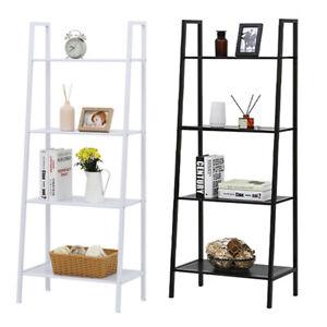 4-Tier-Storage-Shelves-Ladder-Bookshelf-Industrial-Bookcase-Metal-Frame-Display