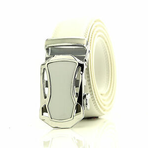 Automatic belt White and silver steel buckle with white genuine leather waist