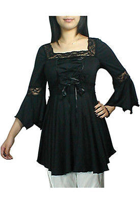 LACING-UP GOTHIC CORSET SEXY WOMENS TOP STEAMPUNK BLACK MEDIEVAL BLOUSE