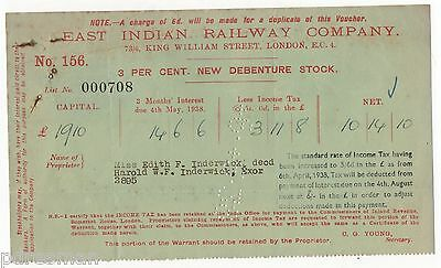 """EAST INDIAN RAILWAY COMPANY""  1938 INTEREST WARRANT."