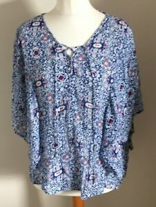 Indigo-Collection-Size-12-Ladies-Blue-Top-With-White-amp-Red-Print-Detail