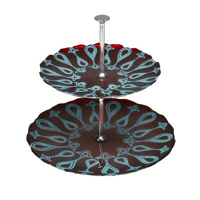 Red Pomegranate Larissa Two Tier Stand Plate Server Red Turquoise Ebay