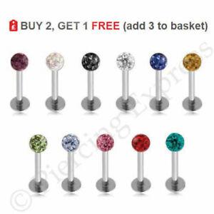 SHAMBALLA-Labret-Bar-Lip-Stud-316-Steel-Monroe-Ear-Piercing-Multi-Crystal-Ball