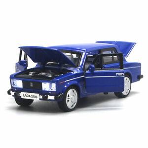 1-32-VAZ-Lada-2106-Die-Cast-Modellauto-Spielzeug-Model-Sammlung-Pull-Back-Blau