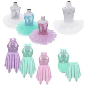 Kids-Girls-Ballet-Dance-Tutu-Dress-Sequins-Leotard-Skirt-Outfits-Lyrical-Costume