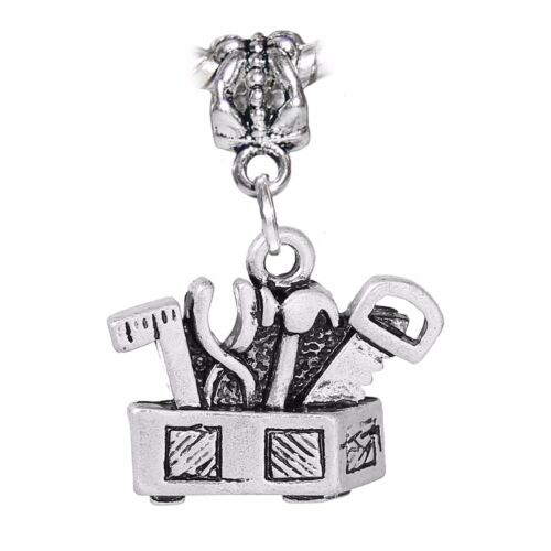 Tool Box Tools Contractor Hammer Saw Dangle Charm for European Bead Bracelets