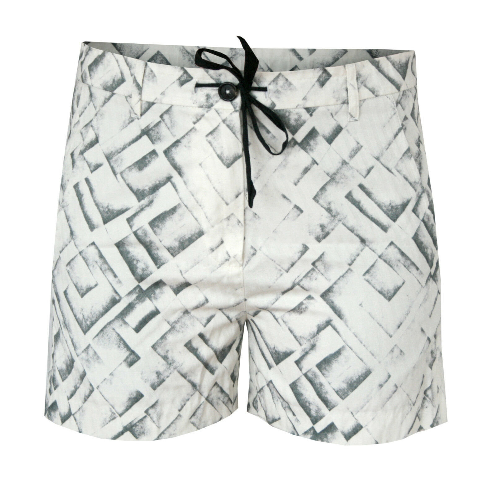 ANN DEMEULEMEESTER  670 ivory printed pattern cotton drawstring shorts 38 6 NEW