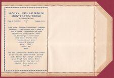 PISTOIA MONTECATINI TERME 90 HOTEL PELLEGRINI - BUSTA RECLAME NUOVA ca. 1925