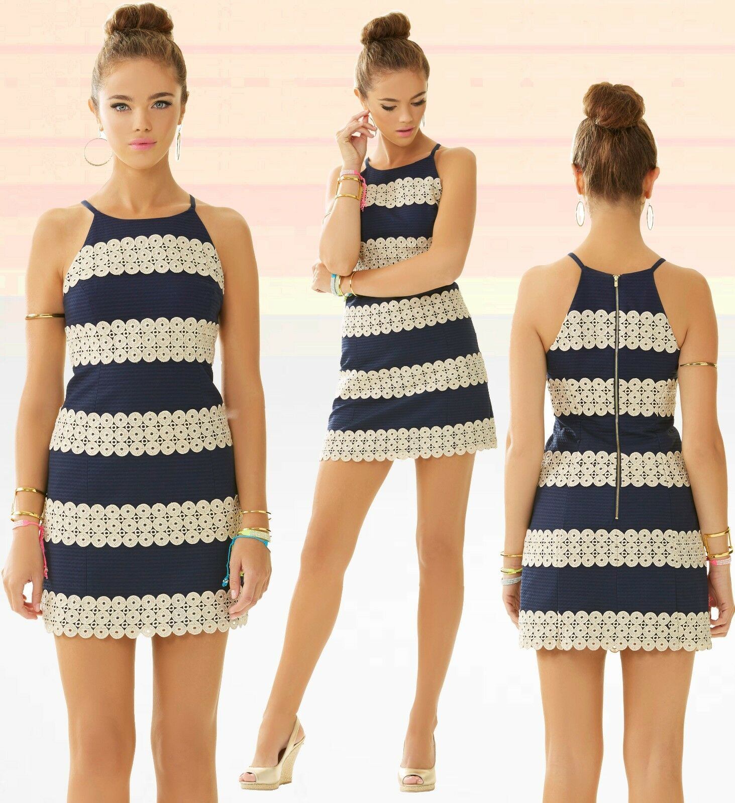 288 Lilly Pulitzer Annabelle True Navy gold Lace Annabelle Stripe Shift Dress