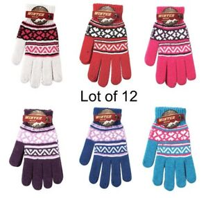 12-Pair-Ladies-Winter-Knit-Gloves-Assorted-Colors-Warm-Cold-Weather-Gear-Gift