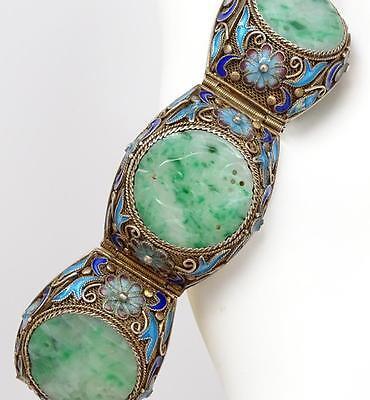 Antique Chinese Export Gilt Silver Filigree Carved Pierced Jade Bird Bracelet