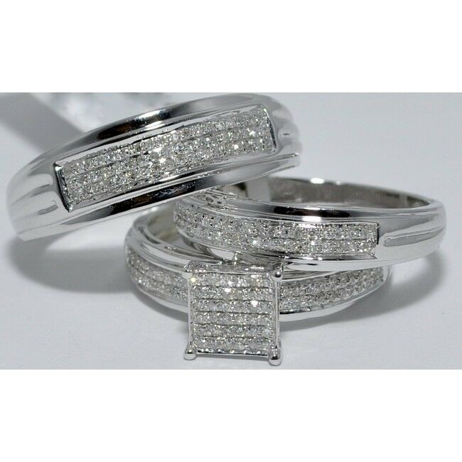 Men's And Women's 14K White gold Over Diamond Trio Engagement Bridal Ring Sets