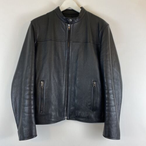Coach Black Pebbled Leather Racer Moto Jacket Medi
